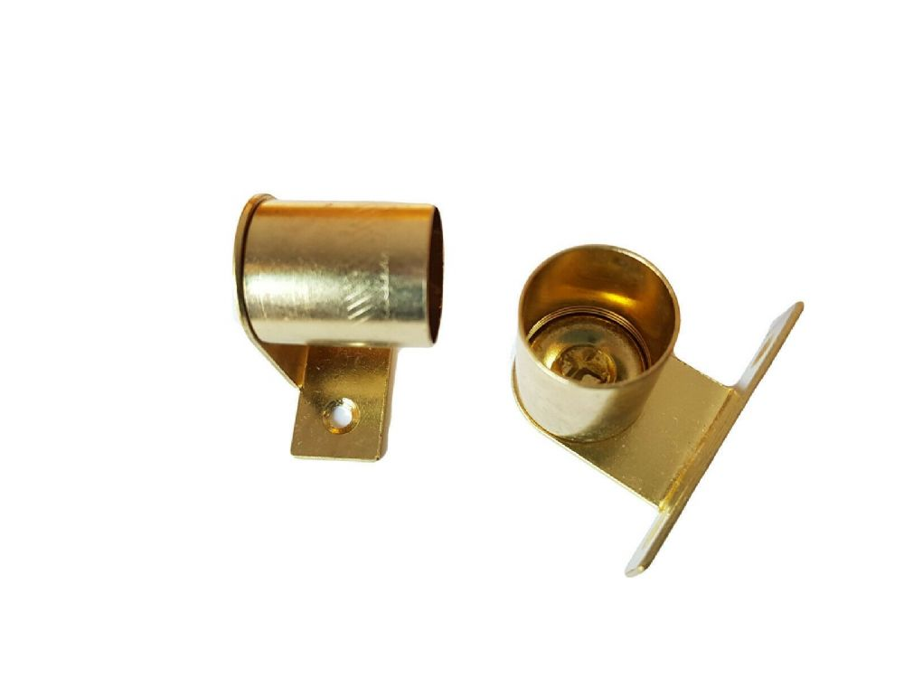 2 Brass Cranked Curtain Rod Recess Brackets 20mm Pole